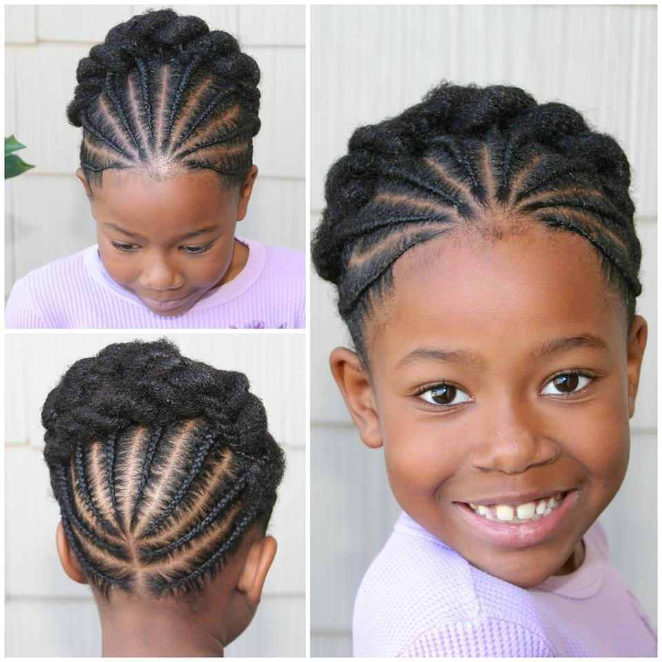 Very Cute Braided Updo Style For Little Naturals | Kiddie Styles For Quick Updo Hairstyles For Natural Black Hair (Gallery 3 of 15)