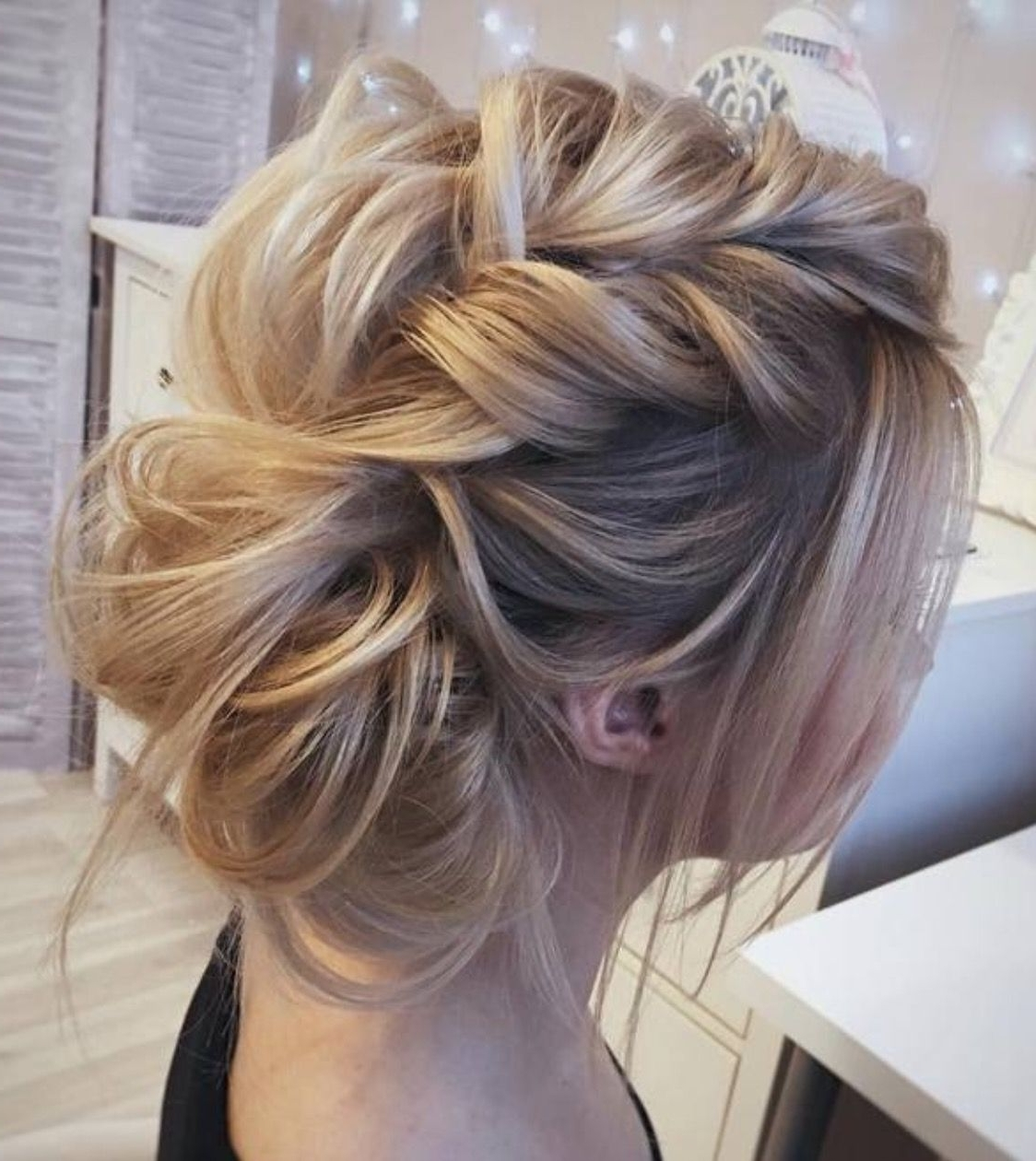 Very Loose Fishtail Braid Pulled Apart Into A Bun With Messy, Wispy For Soft Updo Hairstyles For Medium Length Hair (Gallery 10 of 15)