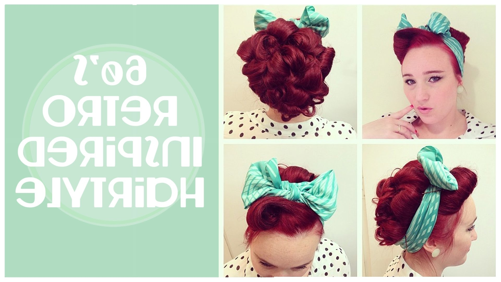 Vintage Hairstyle: 60's Inspired Updo And Front Barrel Roll – Youtube Pertaining To Easy Vintage Updo Hairstyles (Gallery 15 of 15)