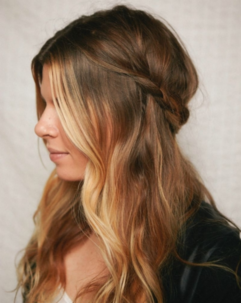 Wavy Half Updo Hairstyles Easy Half Up Hairstyles For Long Curly Throughout Updo Hairstyles For Long Curly Hair (View 15 of 15)