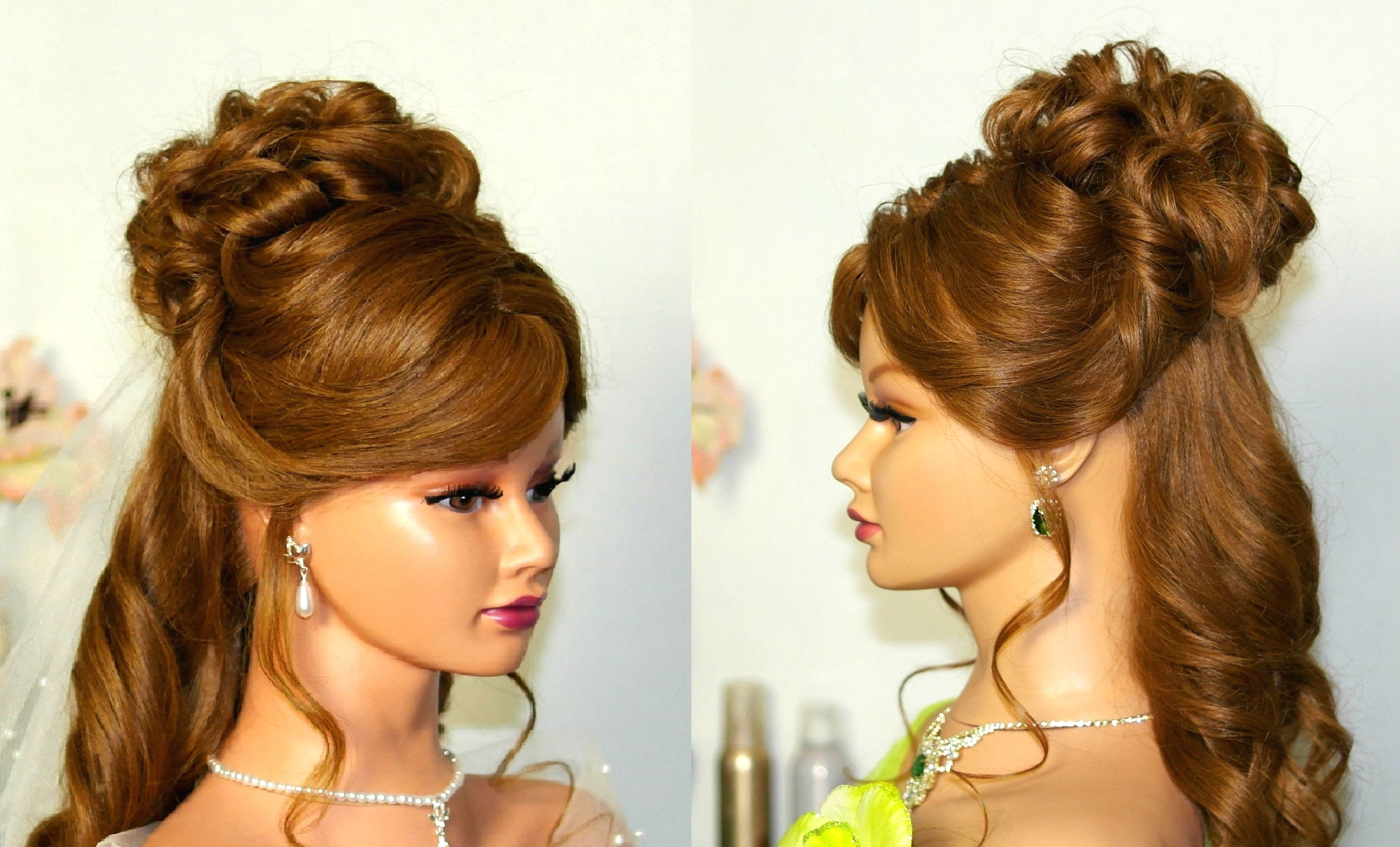 Wedding Hairstyle For Medium Long Hair: Curly Half Up Half Down Pertaining To Curly Bun Updo Hairstyles (View 15 of 15)