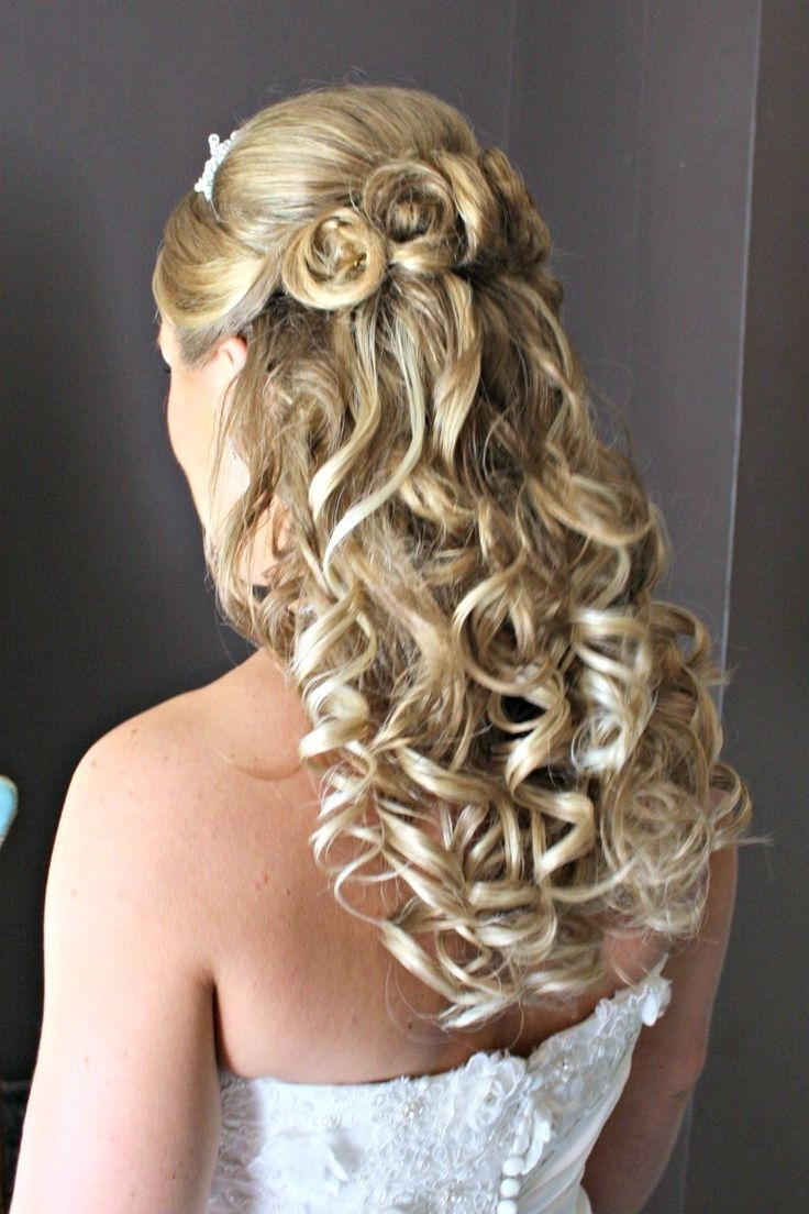 Wedding Hairstyles Ideas: Curly Half Up Wedding Hairstyles For Long Regarding Wedding Updos For Thick Hair (View 10 of 15)
