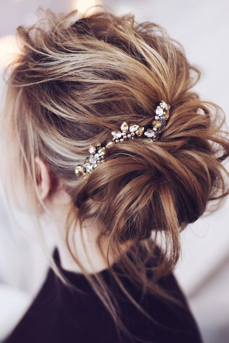 Wedding Messy Bun Hairstyles | Fade Haircut In Messy Bun Updo Hairstyles (View 11 of 15)