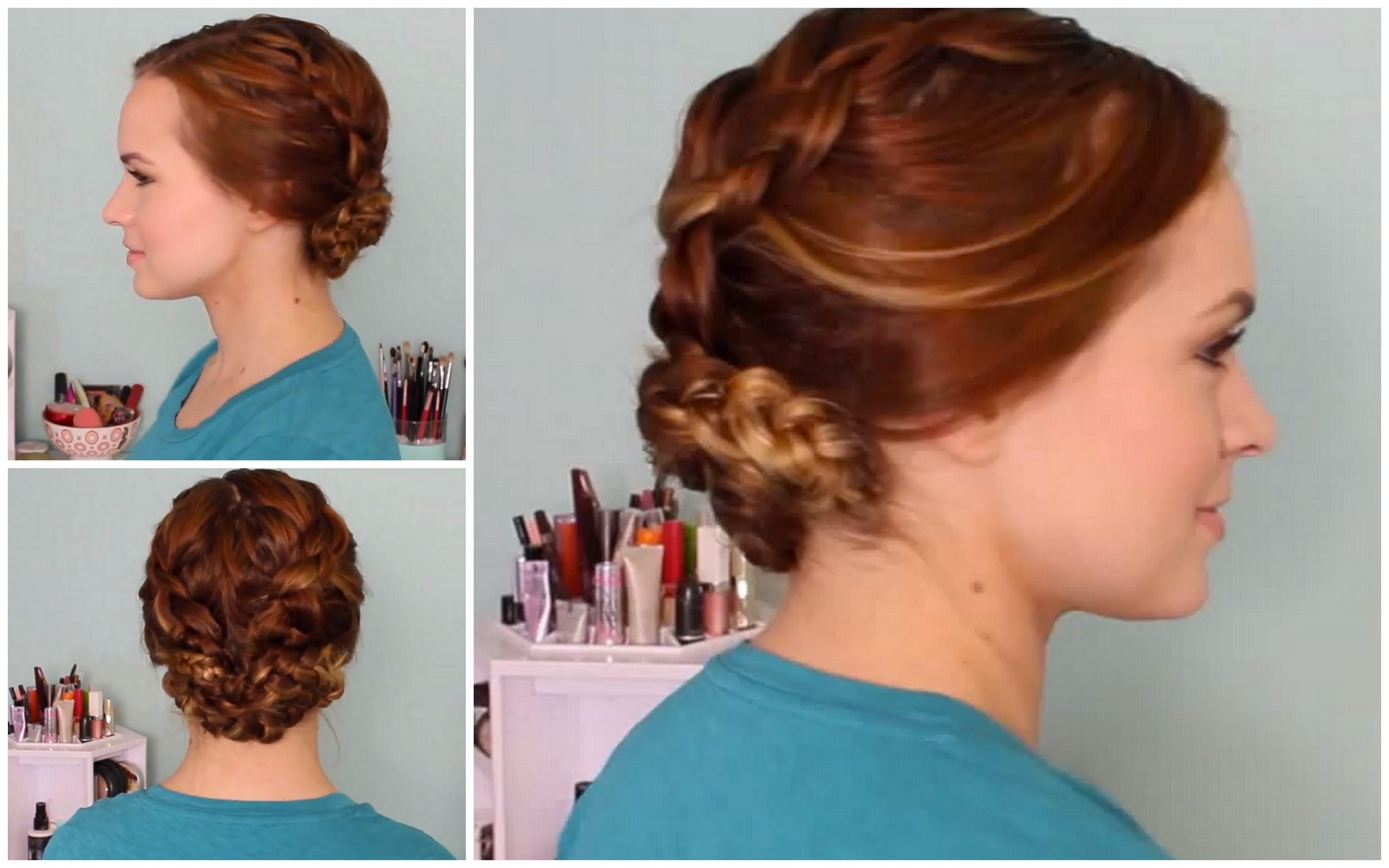 Wet Hair Styles: Braided Updo – Youtube Pertaining To Wet Hair Updo Hairstyles (View 1 of 15)