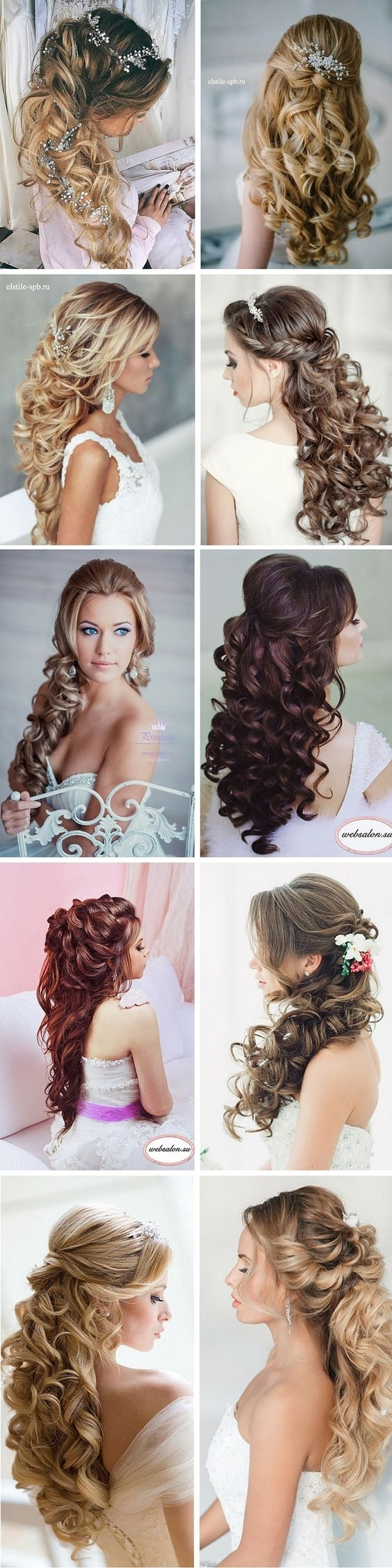 100+ Romantic Long Wedding Hairstyles 2018 – Curls, Half Up, Updos Inside Most Up To Date Wedding Hairstyles For Long Down Curls Hair (View 2 of 15)