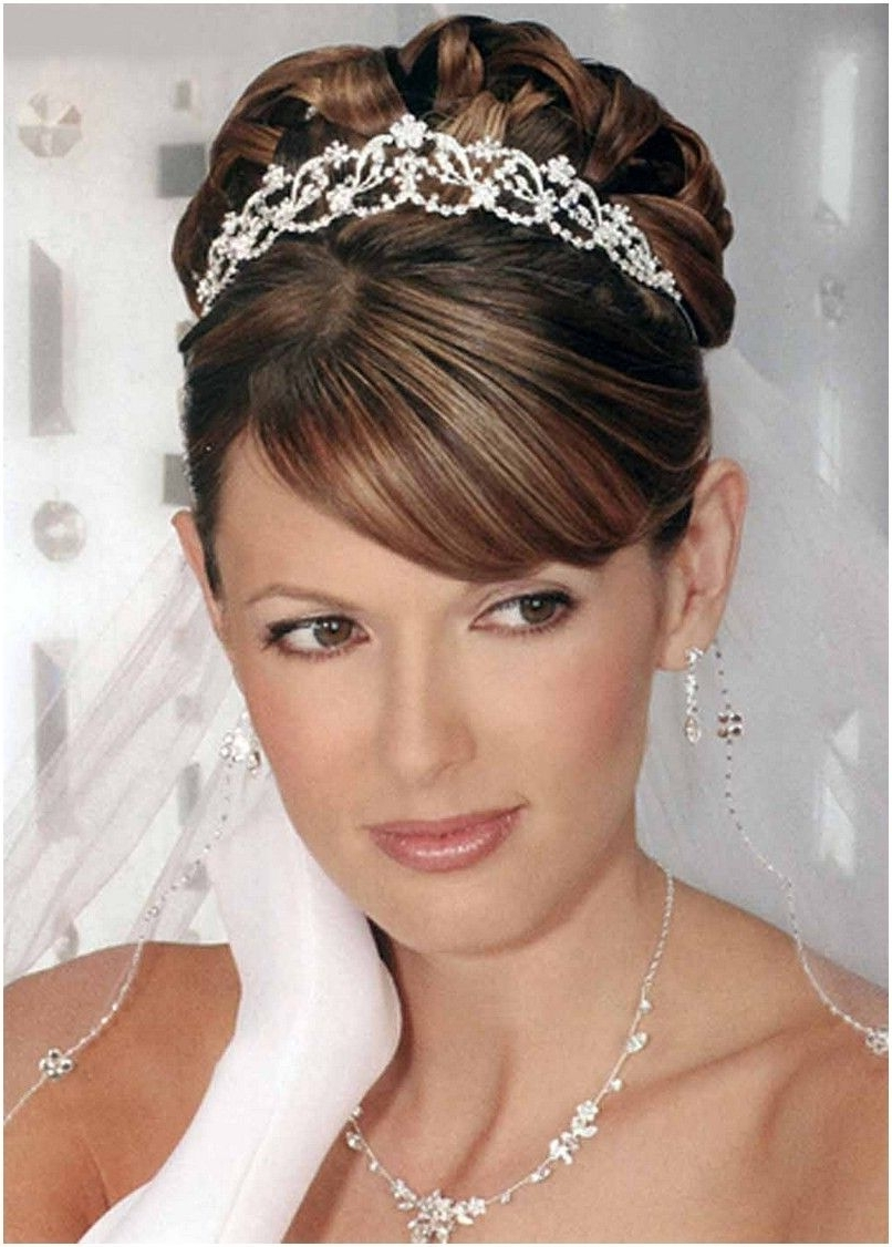 2017 Bridal Hairstyles For Medium Length Hair With Veil Throughout Wedding Hair Updos With Tiara And Veil (806×1126) (View 1 of 15)