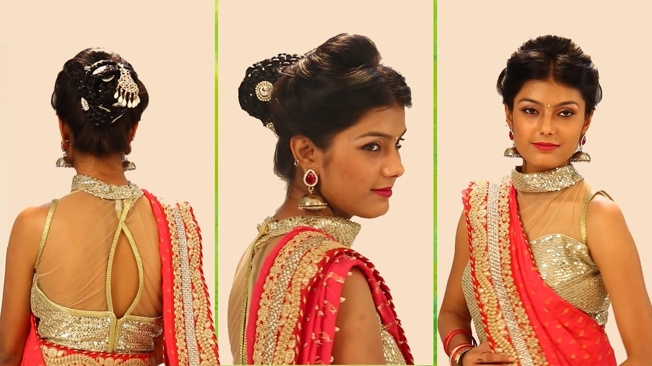 2017 Hindu Wedding Hairstyles For Long Hair For Indian Bridal Hairstyles Stepstep – Simple & Bridal Bun (View 1 of 15)