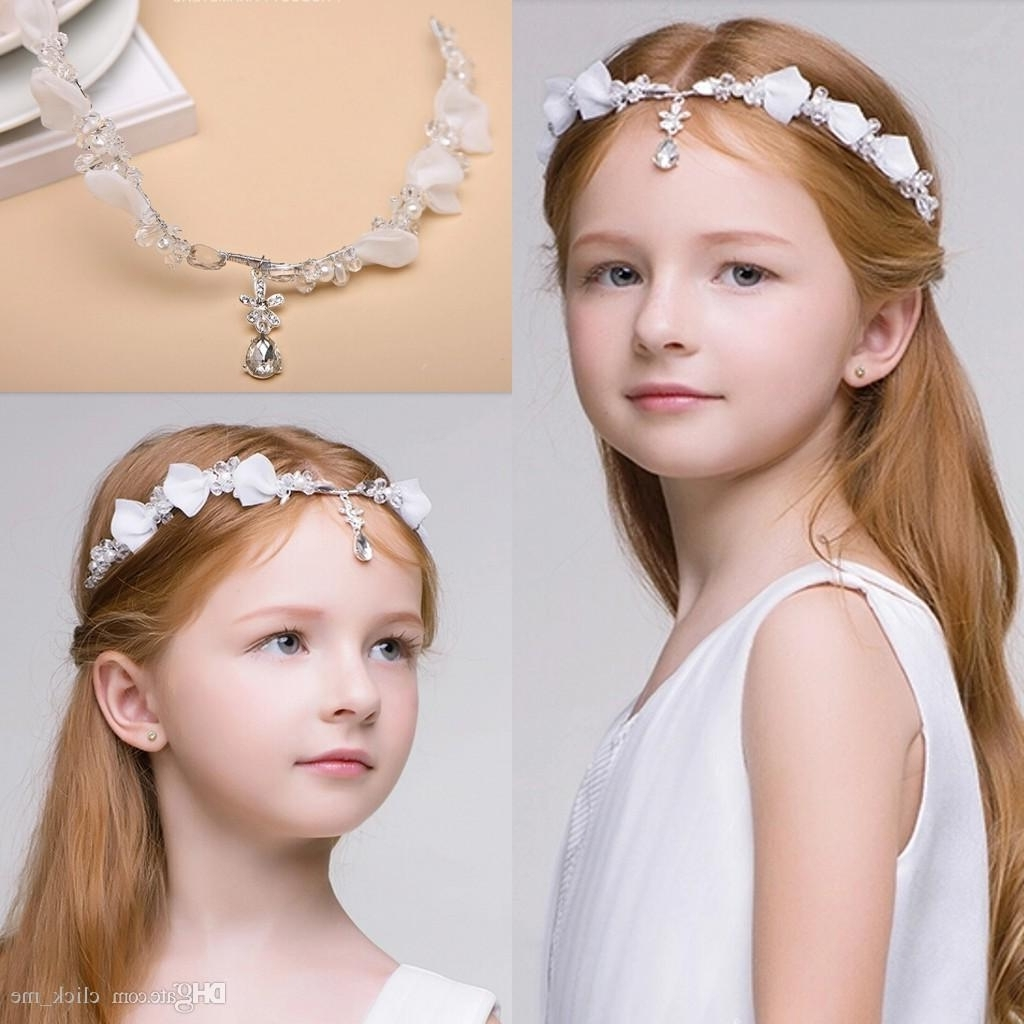 2017 Wedding Hairstyles For Bride And Bridesmaids Inside Newest Junior Bridesmaid Bride Accessories Headband Hairwear Crystal (View 1 of 15)
