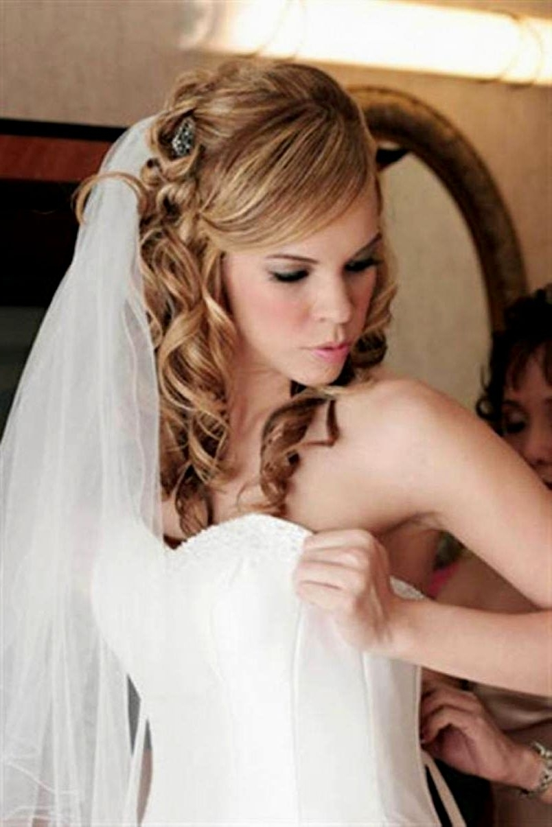 2017 Wedding Hairstyles For Mid Length Hair With Fringe Regarding Stunning Weddingyles For Medium Length Hair Styles On Their Day (View 7 of 15)
