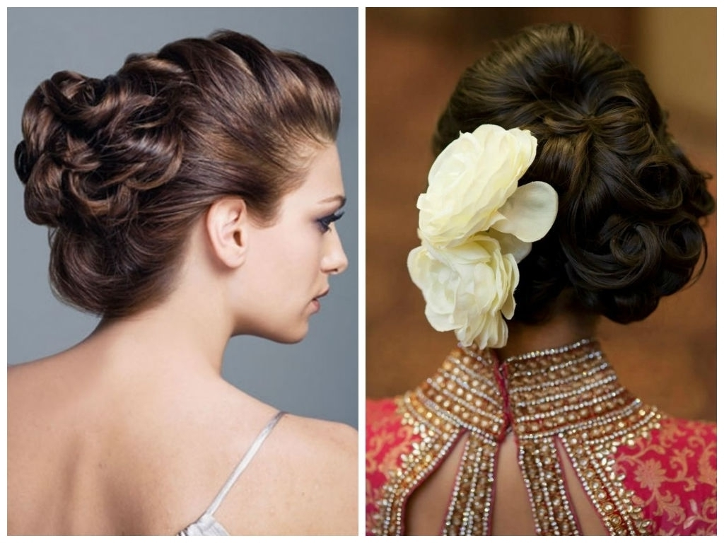 2018 Easy Indian Wedding Hairstyles For Medium Length Hair Within Photo: Wedding Hairstyles For Thin Shoulder Length Hair With Roses (View 3 of 15)