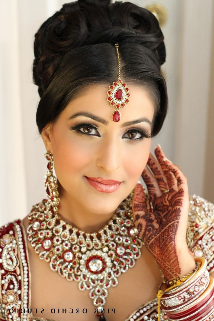 2018 North Indian Wedding Hairstyles For Long Hair Intended For Indian Bridal Traditional Hairstyles (View 12 of 15)