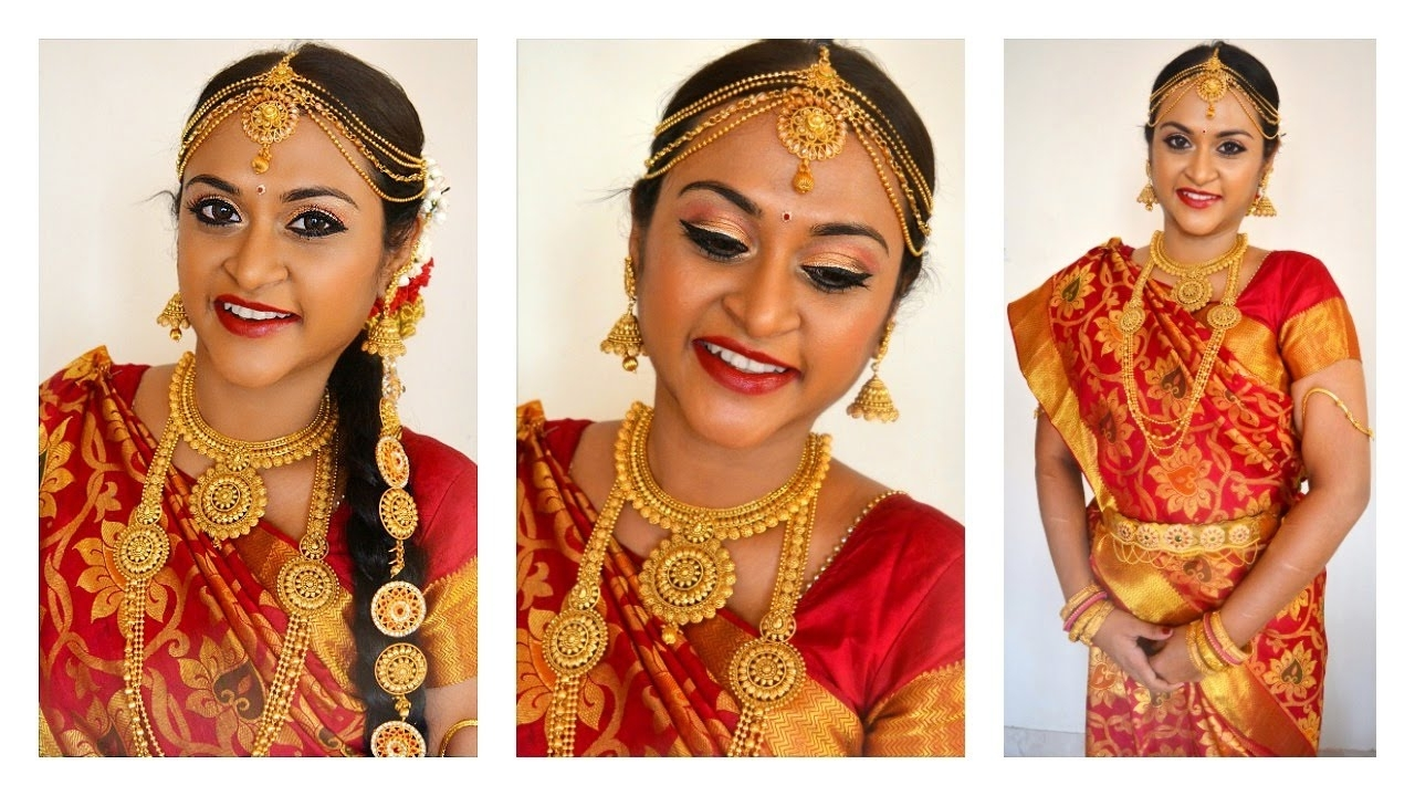 2018 South Indian Tamil Bridal Wedding Hairstyles Throughout South Indian Tamil Bridal Makeup Look In Tamil With Eng Subtitles (View 5 of 15)