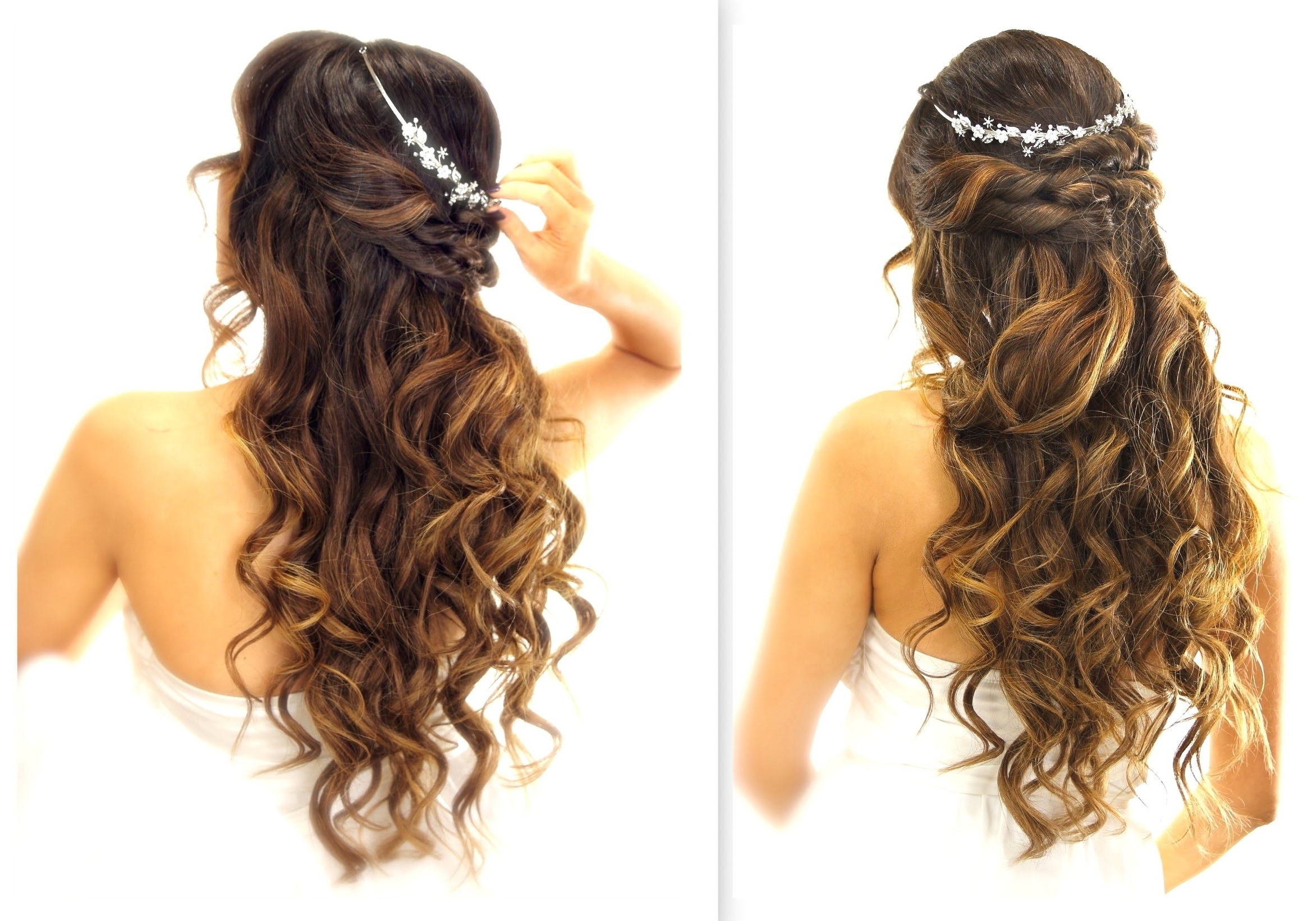 2018 Wedding Down Hairstyles For Medium Length Hair Within ☆ Easy Wedding Half Updo Hairstyle With Curls (View 8 of 15)