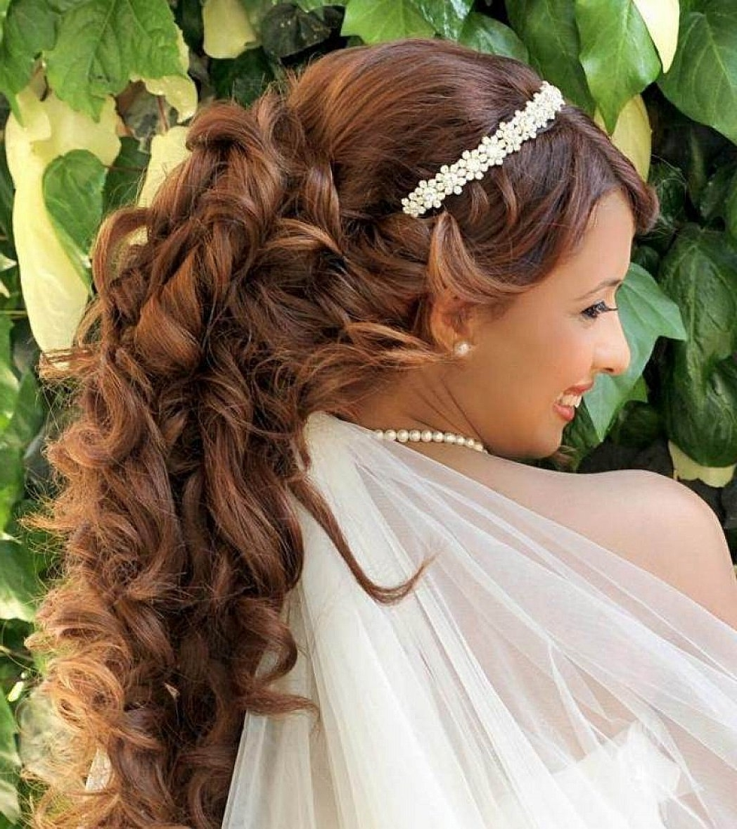 2018 Wedding Hairstyles For Long Hair Down With Tiara Intended For Wedding Hairstyles For Long Hair Half Up With Tiara (10) (View 3 of 15)