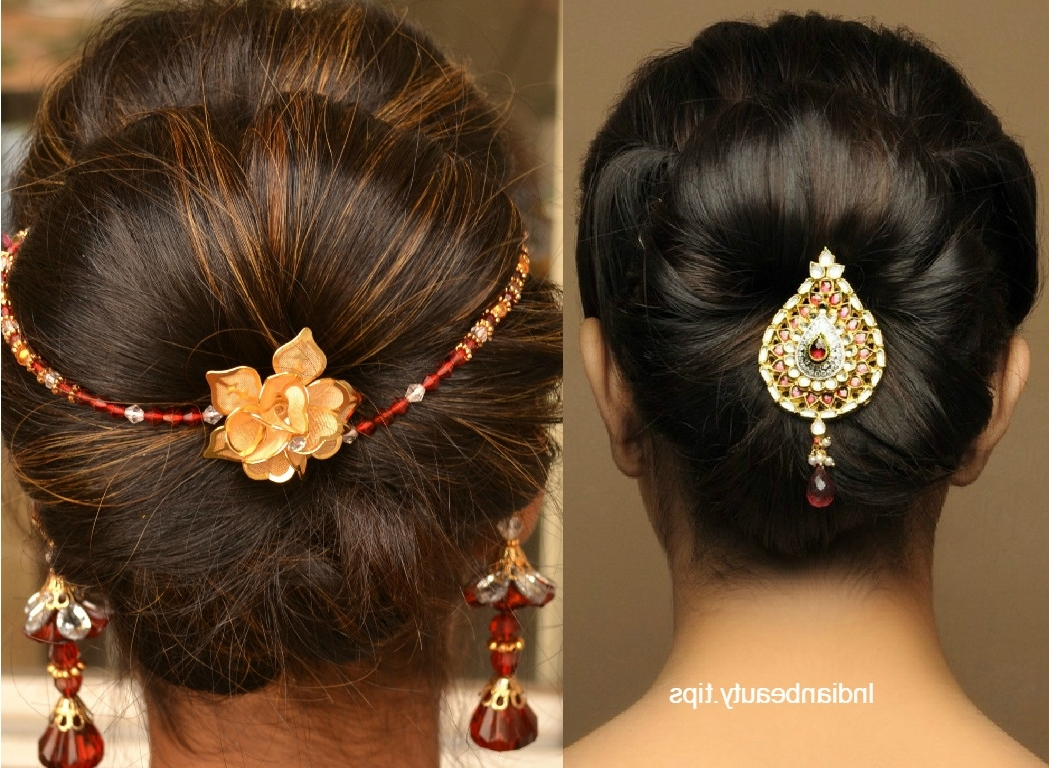 30 Elegant Bridal Updo Hairstyles – Indian Beauty Tips Inside Fashionable Indian Bun Wedding Hairstyles (View 3 of 15)