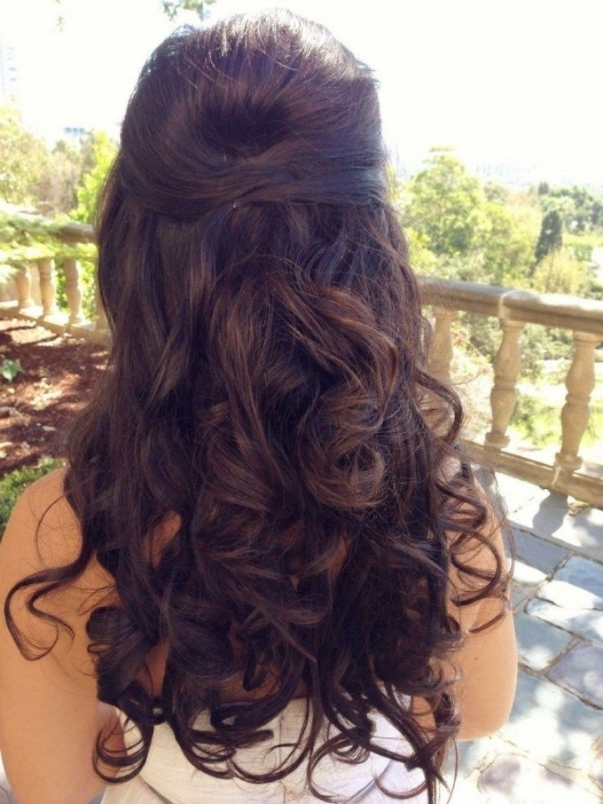 Featured Photo of Hair Half Up Half Down Wedding Hairstyles Long Curly