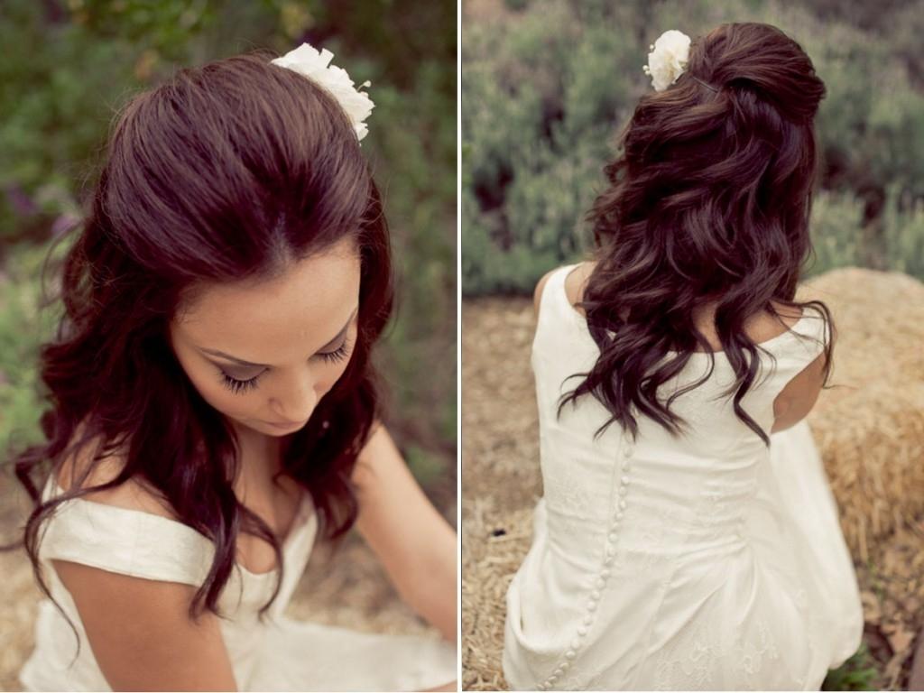 Above Half Down Wedding Hairstyles Flower Pretty (View 4 of 15)