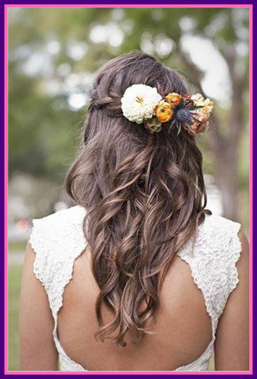 Amazing Wedding Hairstyles Ideas Hair Flowers Braid Combined With Pertaining To Widely Used Wedding Hairstyles For Long Hair With Braids (View 7 of 15)