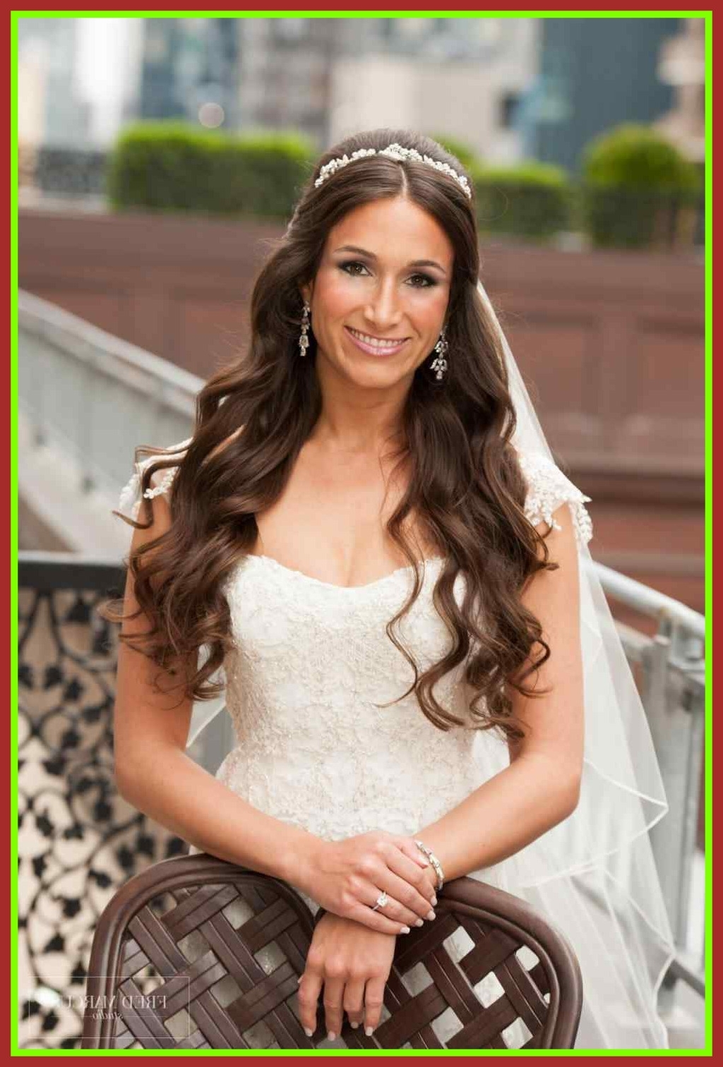 Appealing Hair Wedding Hairstyle Half Up Down With Veil Headband And For Well Known Wedding Hairstyles For Long Hair With Veil And Headband (Gallery 12 of 15)