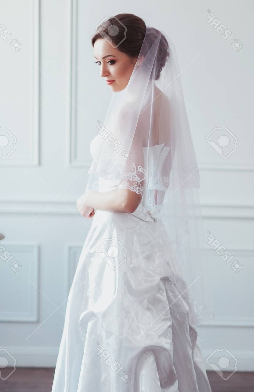 Beautiful Bride With Fashion Wedding Hairstyle – On White Background With Widely Used Wedding Hairstyles With Veil Over Face (View 9 of 17)