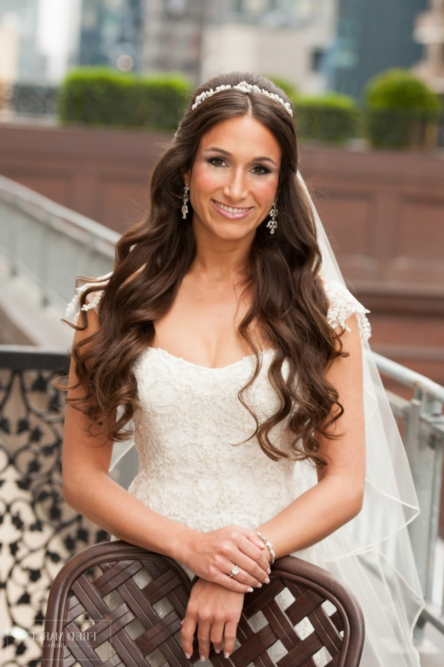 Best And Newest Wedding Hairstyles Down With Tiara With Regard To Wedding ~ Bridal Hairstyles Half Up Down With Veil And Tiara 42lions (View 8 of 15)