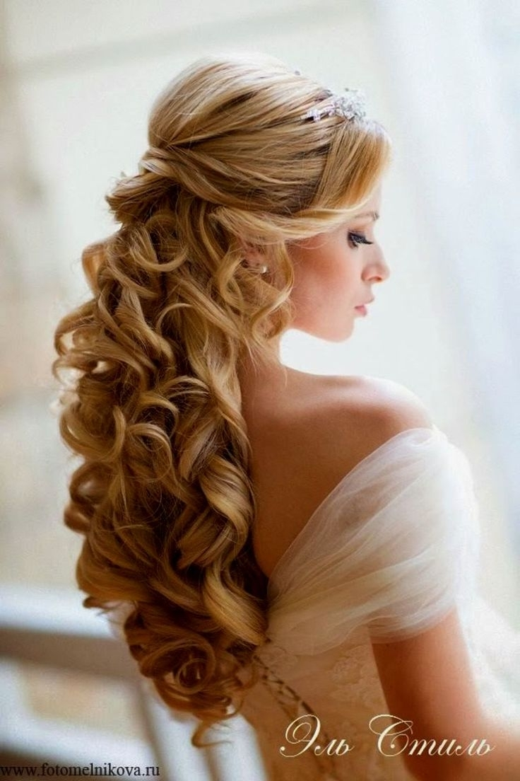 Best Half Up Wedding Hairstyles For Thick Curly Blonde Hair Ideas Pertaining To Latest Curly Hair Half Up Wedding Hairstyles (View 2 of 15)