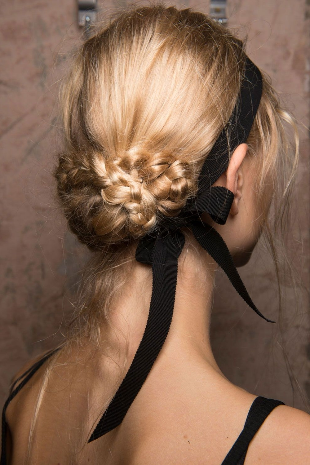 Black Ribbon With Most Recently Released Tied Up Wedding Hairstyles For Long Hair (View 5 of 15)