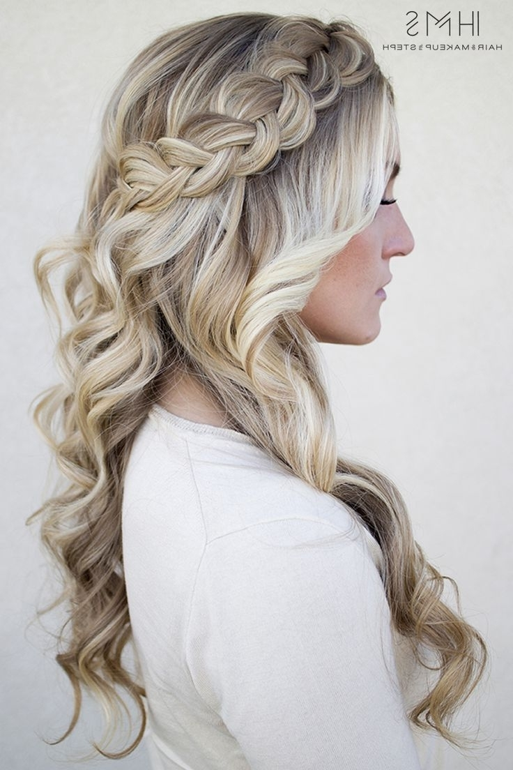 Braided Hairstyles With Curls Staggering Side French Braid Styles Regarding Preferred Plaits And Curls Wedding Hairstyles (View 10 of 15)