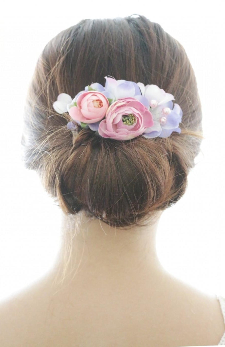 Bridal Hair Accessory, Pink Ranunculus & Purple Hydrangea, Bridal Throughout Trendy Outdoor Wedding Hairstyles For Bridesmaids (View 7 of 15)