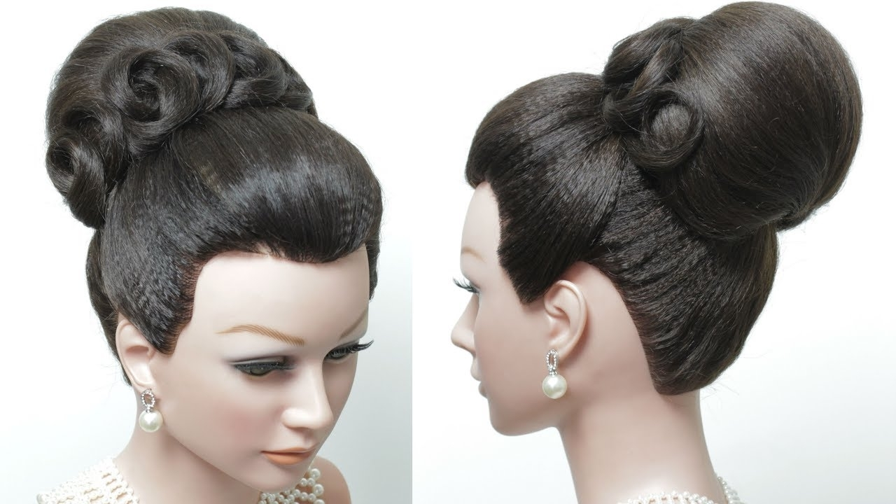 Bridal Hairstyle For Long Hair Tutorial. Classic High Bun (View 3 of 15)