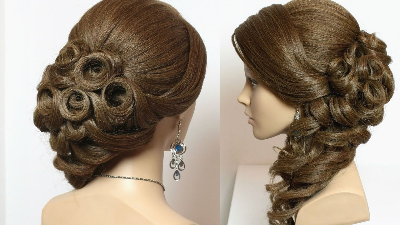 Bridal Hairstyle With Curls For Long Hair Tutorial – Youtube With Widely Used Long Wedding Hairstyles For Bridesmaids (View 5 of 15)
