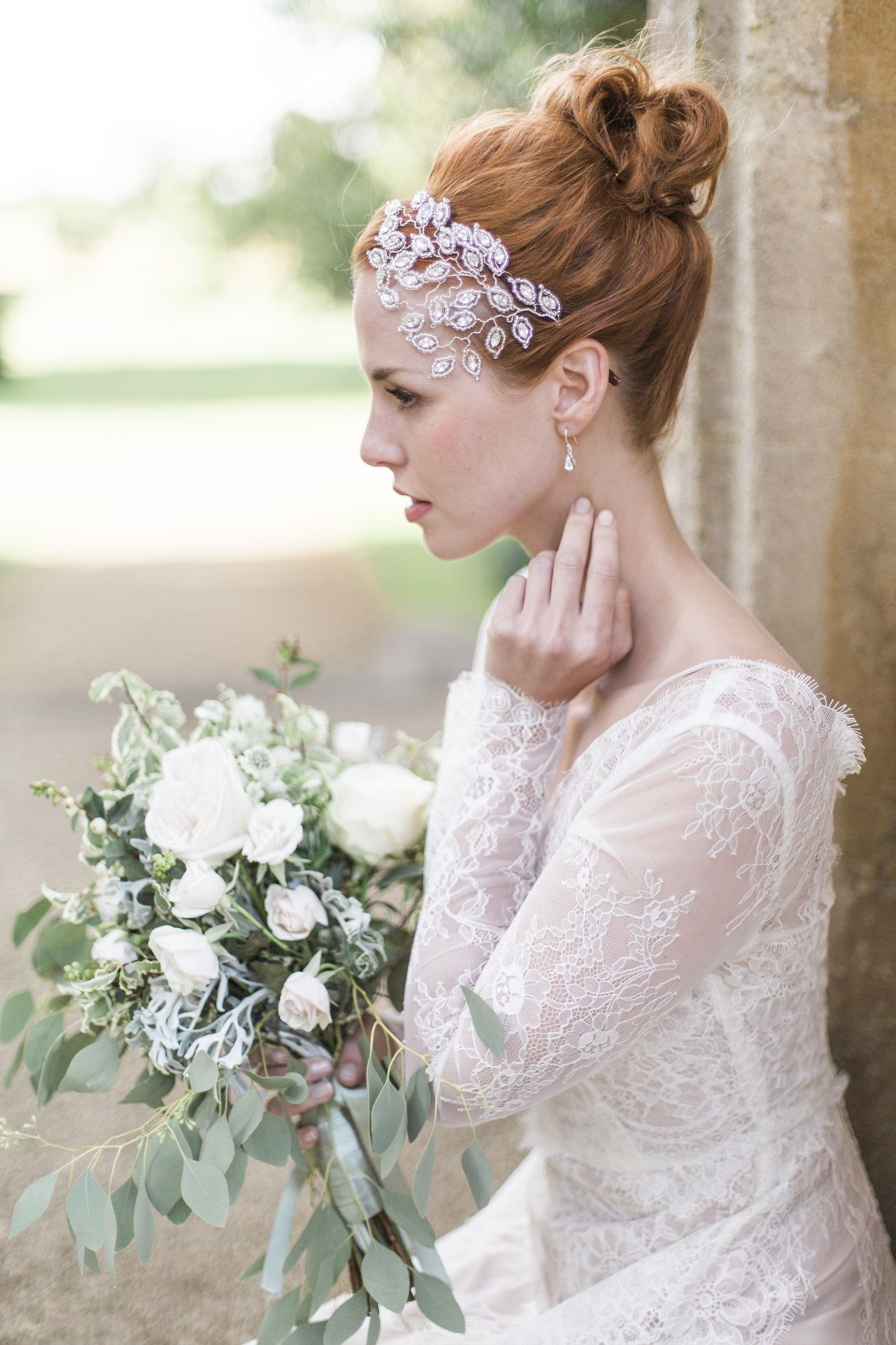 #bridal Pertaining To Most Up To Date Wedding Hairstyles With Hair Jewelry (View 9 of 15)