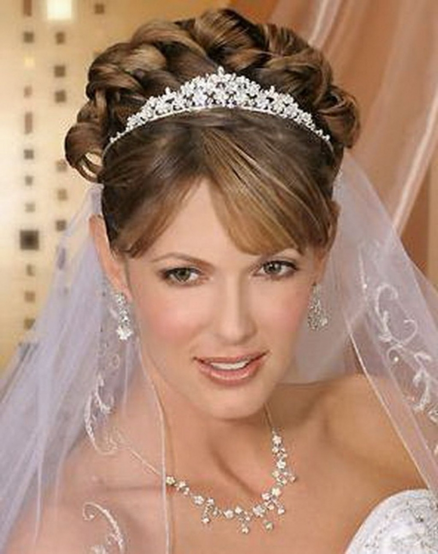 Bride Hairstyles With Veil And Tiara Images Hairstyle Down Brown For Well Liked Wedding Updos For Long Hair With Tiara (View 4 of 15)