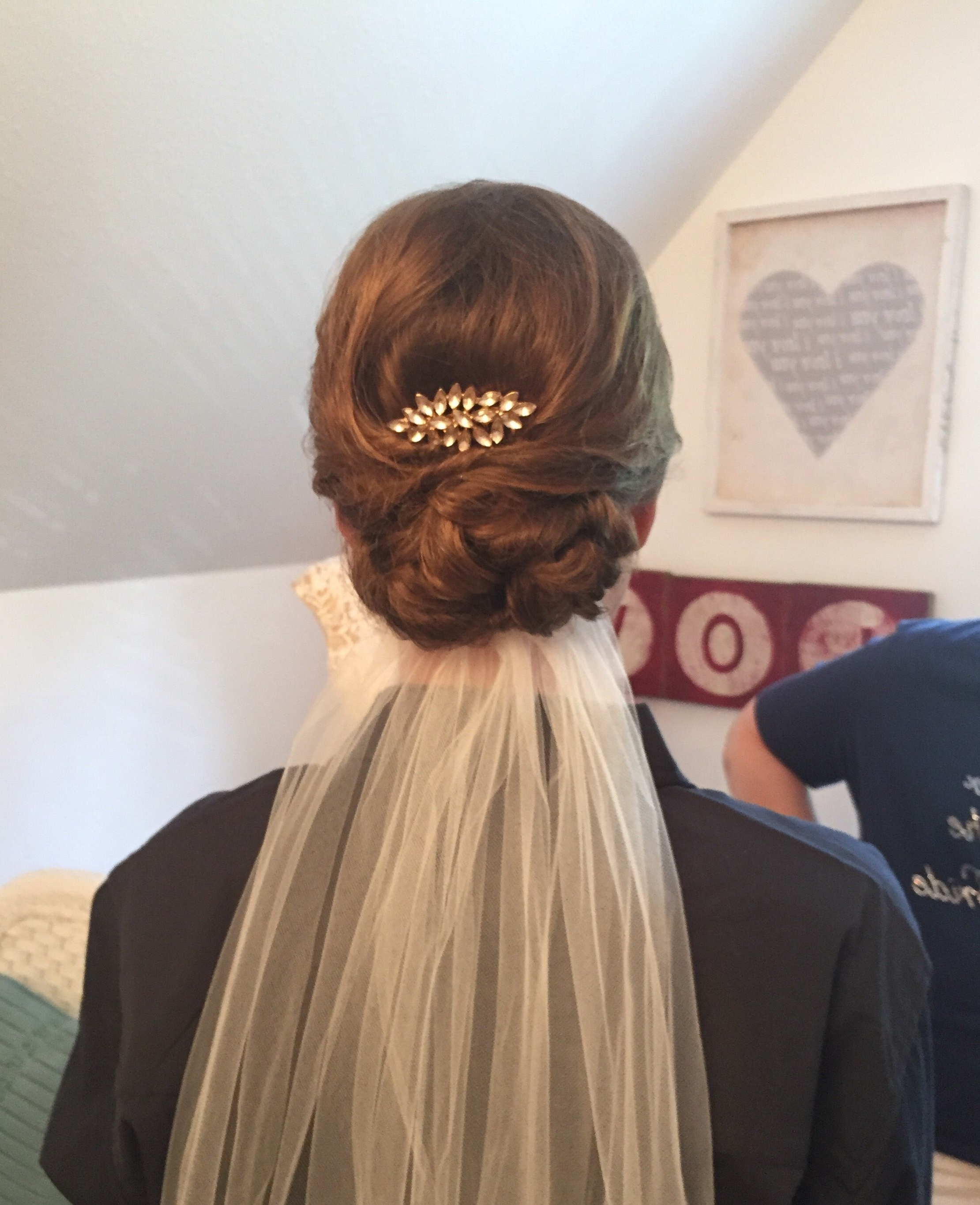 Bride Low Updo, Veil Underneath, Vintage Clip, Short, Thin Hair Throughout Trendy Wedding Hairstyles With Veil Underneath (View 2 of 15)