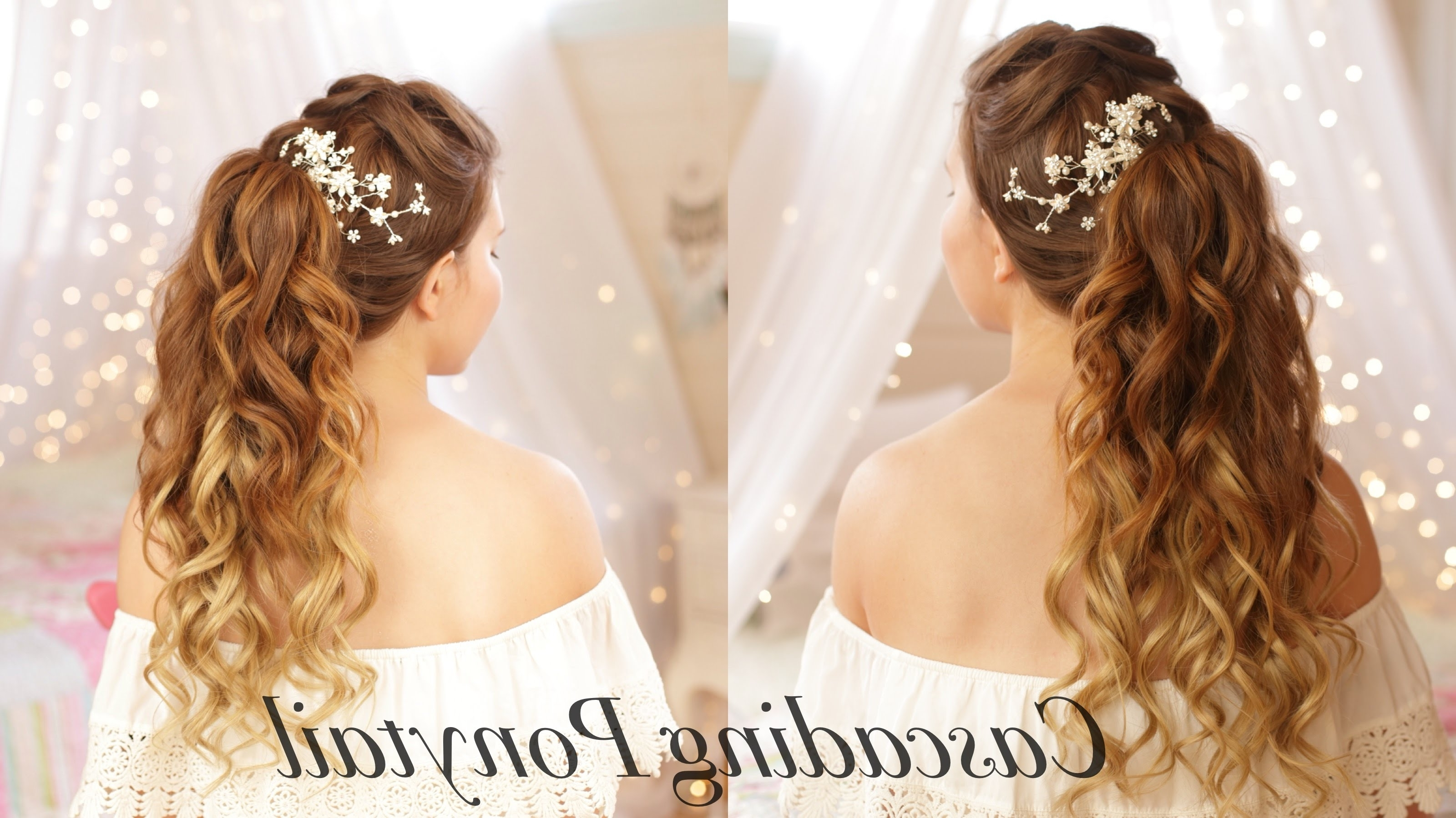 Cascading Ponytail|Wedding Hairstyle – Youtube Within Well Known Wedding Hairstyles For Long Ponytail Hair (View 3 of 15)