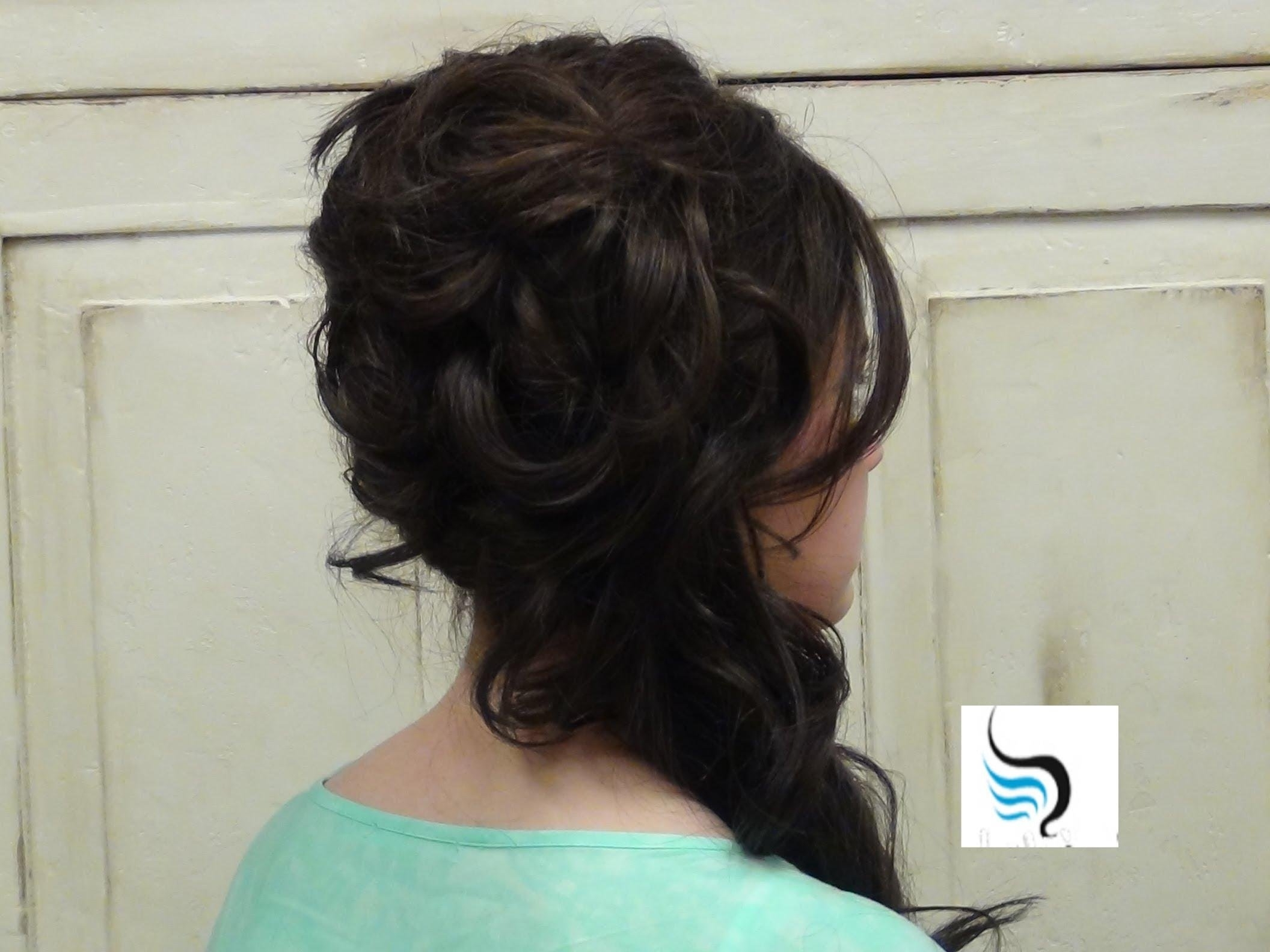 Cascading (Side Updo) For Long Hair Prom Or Weddings Hairstyles Throughout Latest Wedding Hairstyles For Long Hair Pulled To The Side (View 2 of 15)