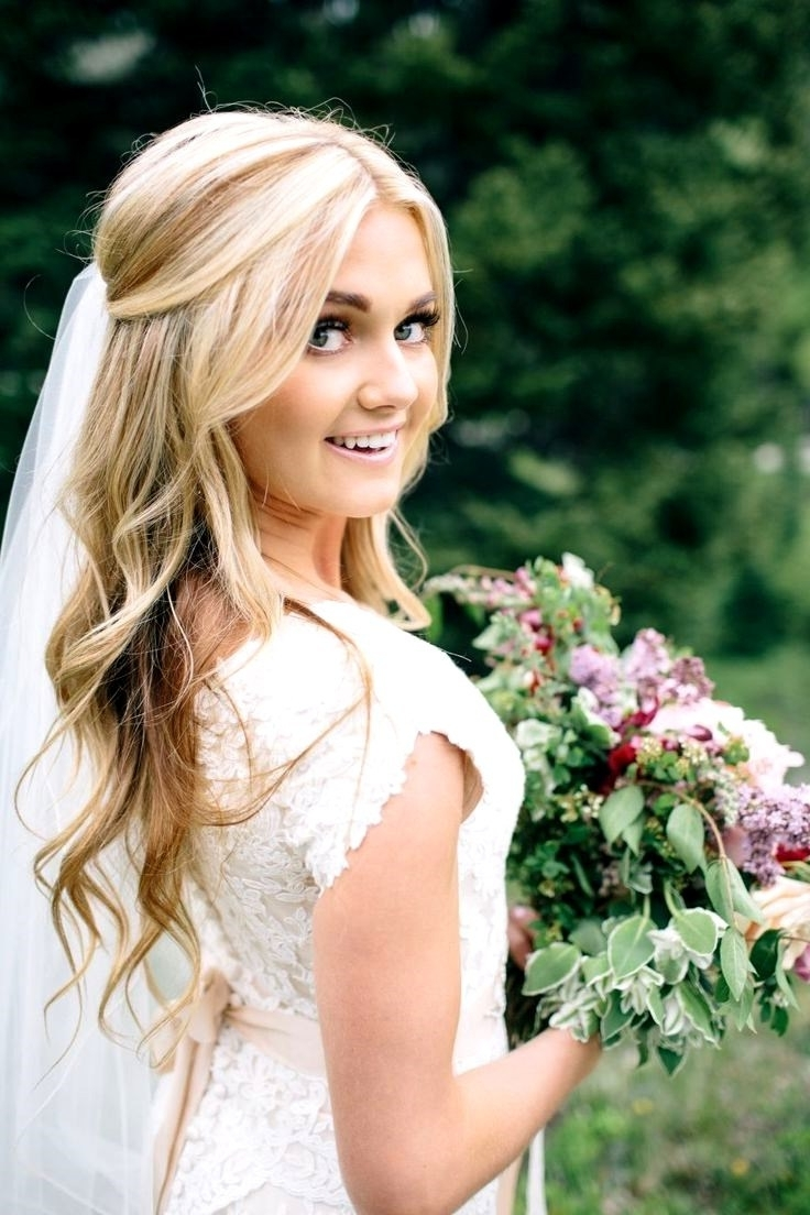 Comfortable Veil Hair Styles Wedding Hairstylesdown Wedding Pertaining To Most Up To Date Wedding Hairstyles Down For Thin Hair (View 3 of 15)