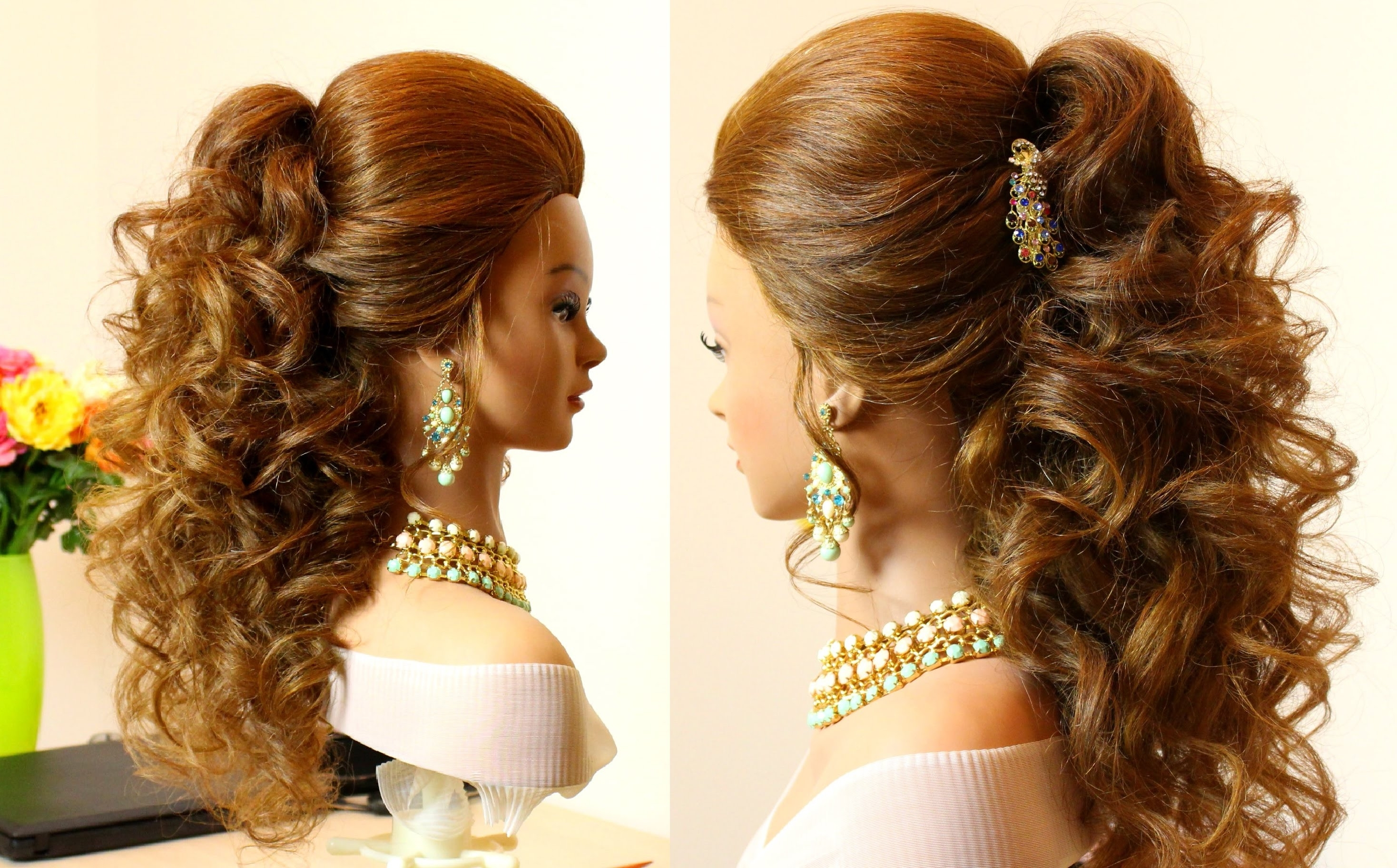 Curly Bridal Hairstyle For Long Hair Tutorial – Youtube Pertaining To Current Big Curls Wedding Hairstyles (View 8 of 15)