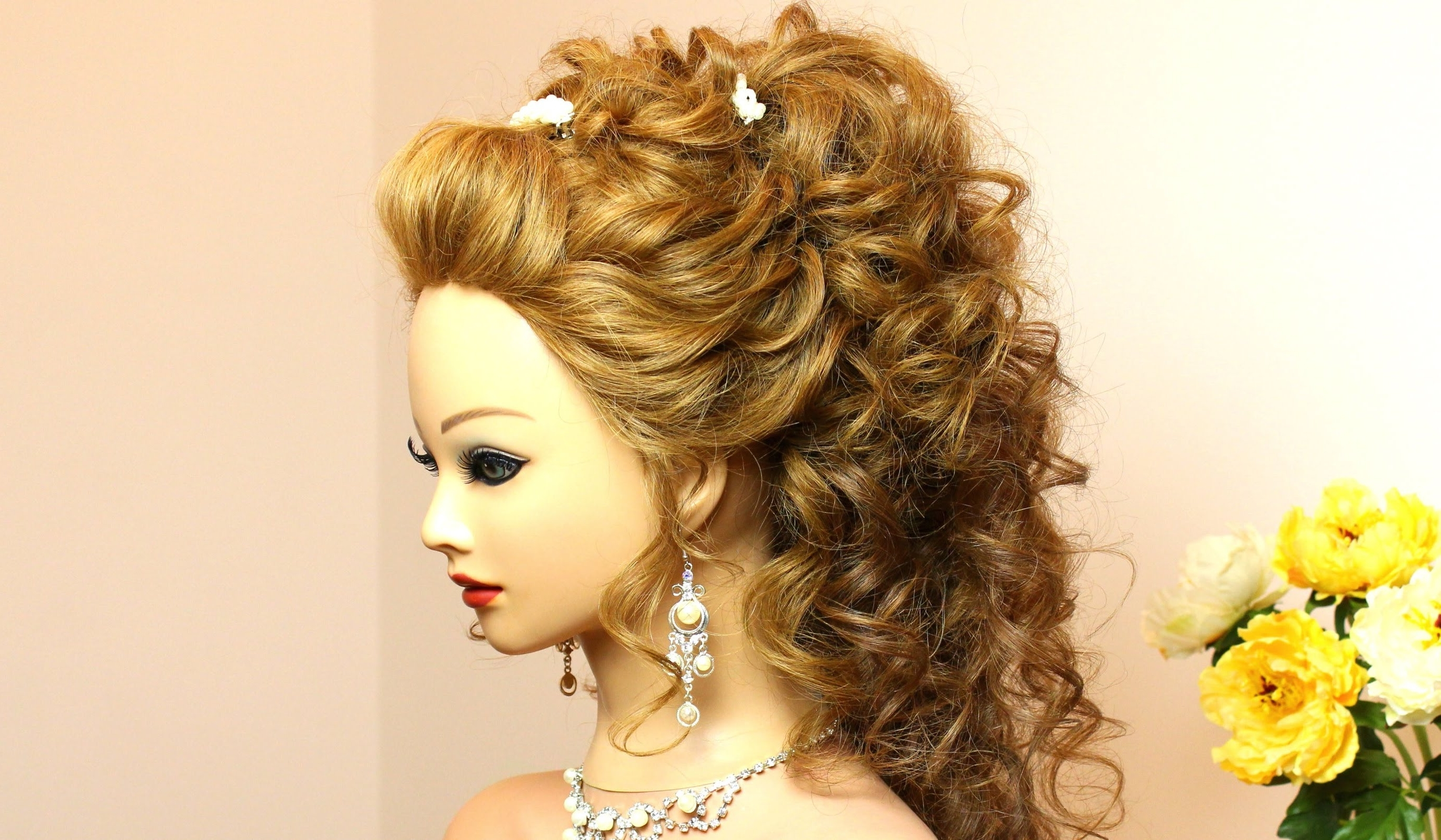 Curly Wedding Hairstyle For Long Hair Tutorial – Youtube Inside Fashionable Wedding Hairstyles For Long Curly Hair (View 5 of 15)