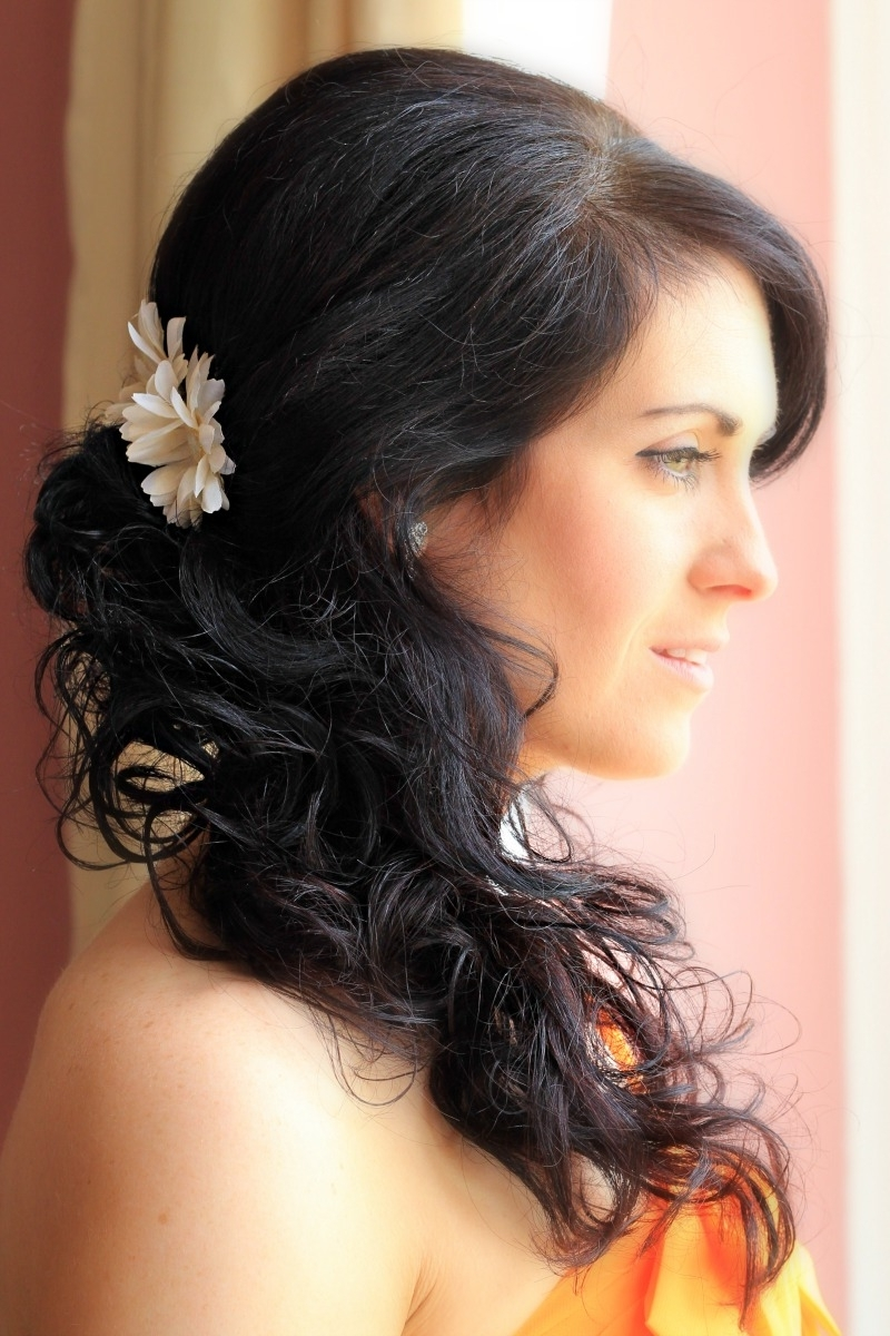 Curlyde Ponytail Wedding Hairstyles Swept Curls Hairstyle Updo Hair With Widely Used Wedding Hairstyles On The Side With Curls (View 5 of 15)