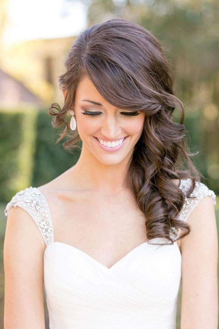 Current Side Swept Wedding Hairstyles Intended For Side Swept Wedding Hairstyles Curly Wedding Hair Swept Bangs – Women (View 13 of 15)