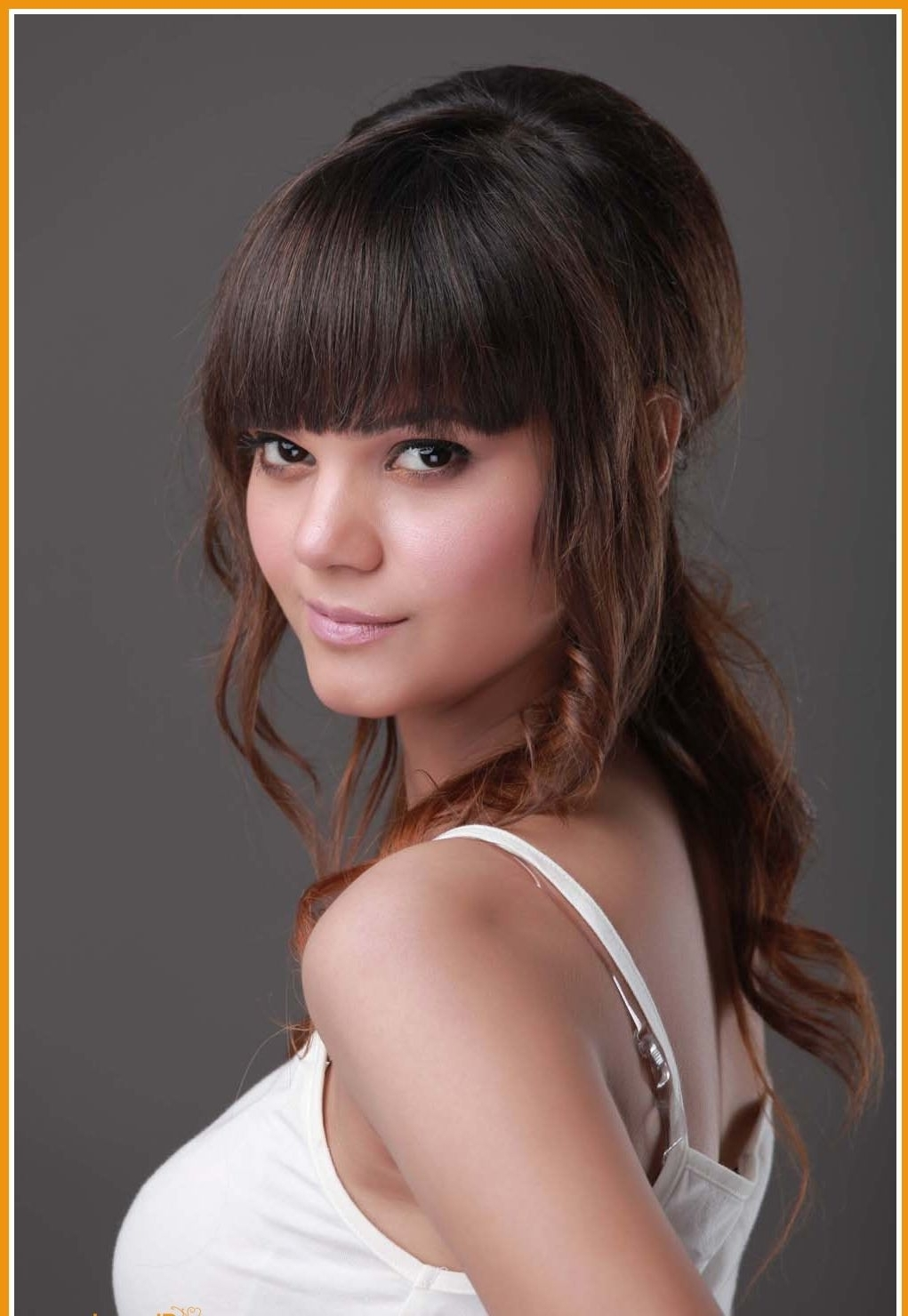 Current Wedding Hairstyles For Medium Length Hair With Fringe Intended For 20 Hairstyles With Bangs For  (View 5 of 15)