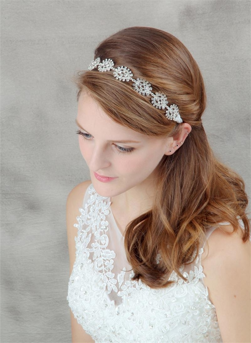 Current Wedding Hairstyles With Jewelry With Regard To Crystal Head Chain Tiara Wedding Headband Hair Accessories (View 7 of 15)