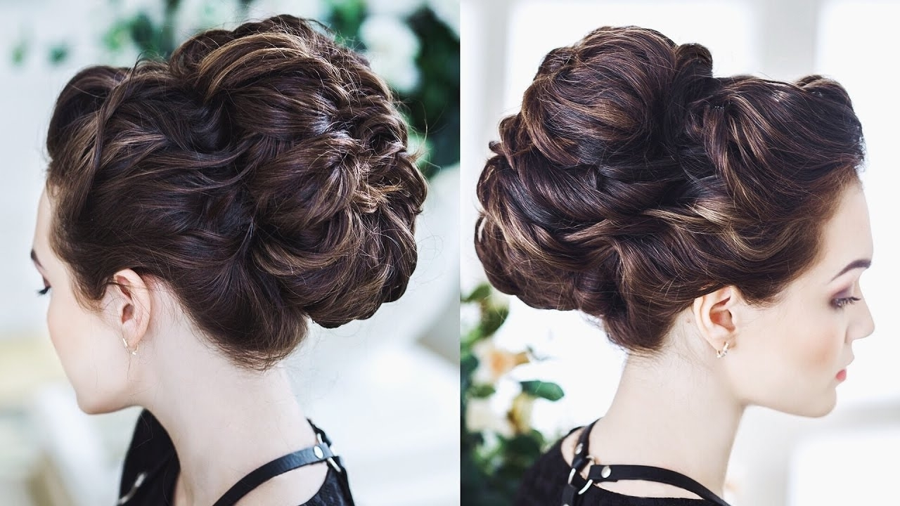 Current Wedding Updos For Long Thick Hair In Easy Twisted Bun With Ponytale / Big Textured Bun For Long Thick (View 7 of 15)