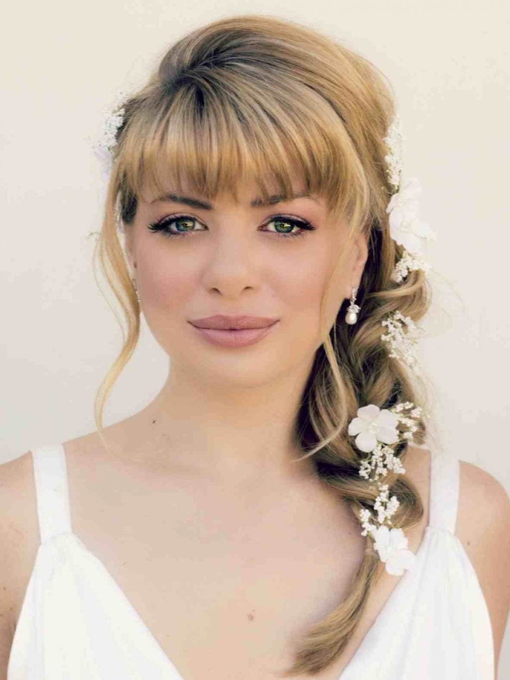 15 Best Ideas Of Wedding Hairstyles For Mid Length Hair With Fringe