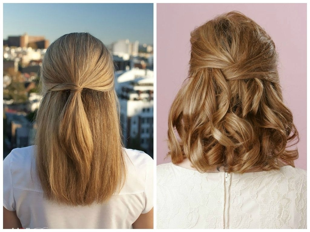 √ 24+ Best Wedding Hairstyles For Shoulder Length Hair: Photo: Half For Most Recently Released Bridesmaid Hairstyles For Short To Medium Length Hair (View 8 of 15)
