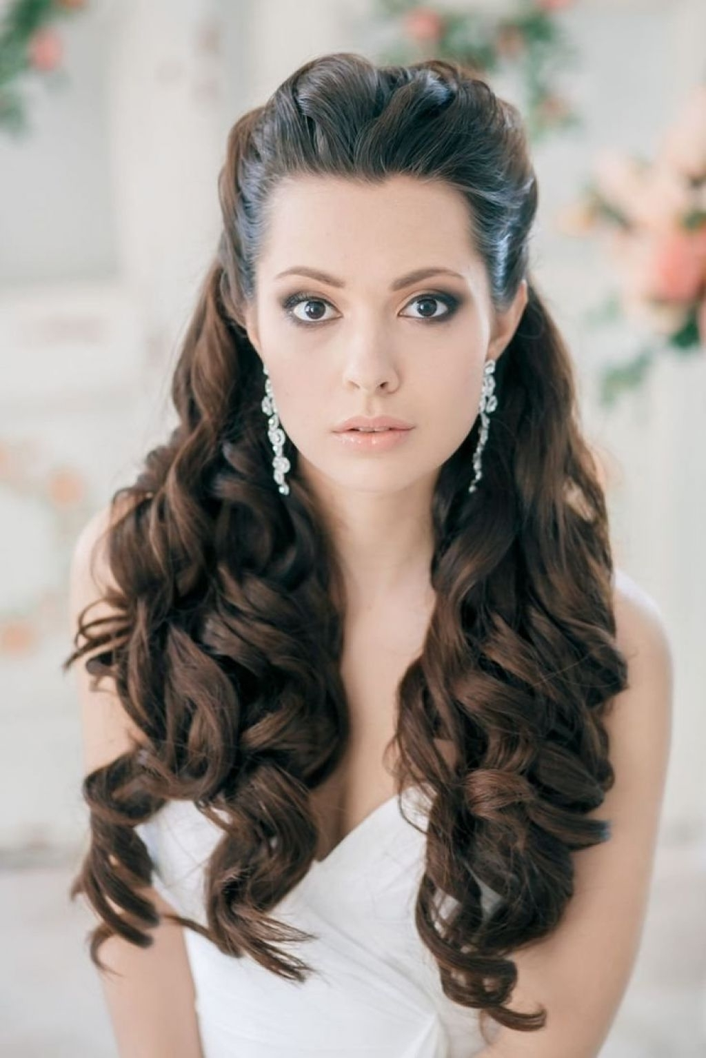 √ 24+ Lovely Wedding Hairstyles For Long Hair Down: Bridal Pertaining To Recent Wedding Hairstyles For Long Hair Down With Flowers (View 12 of 15)