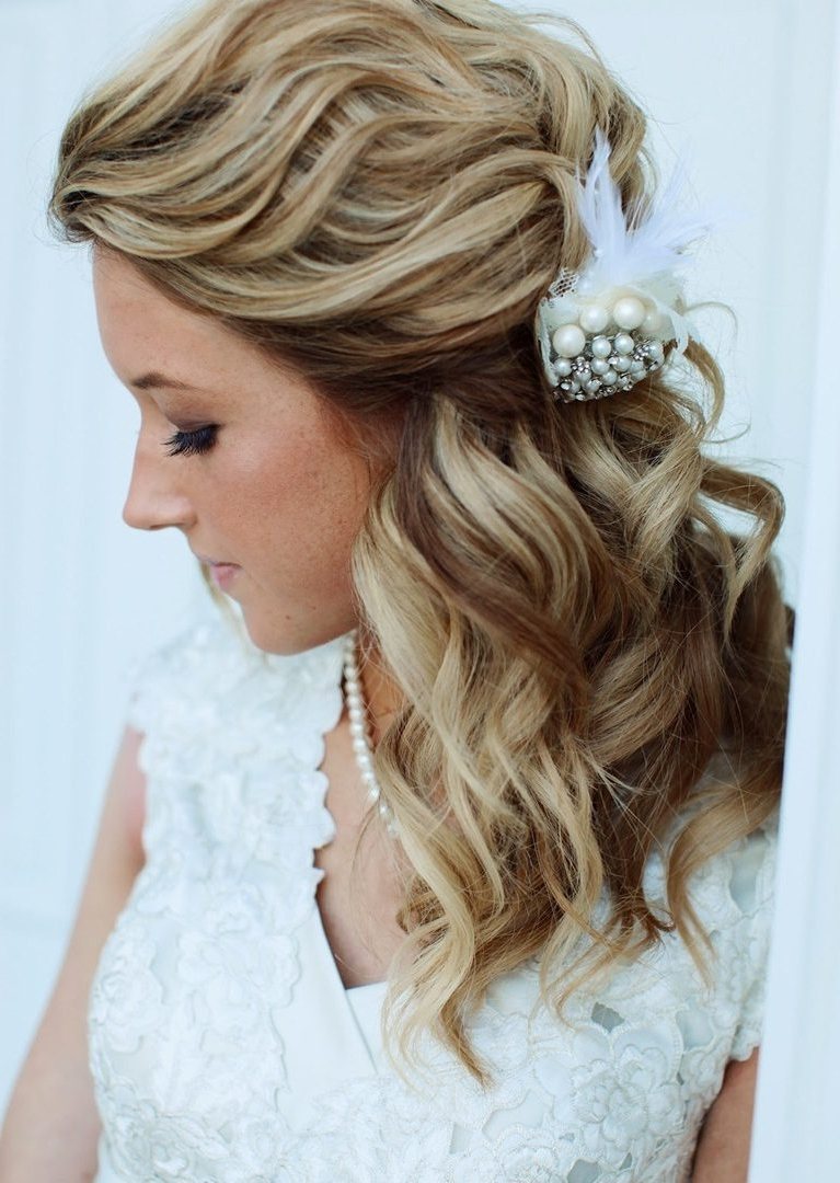 Easy Half Up Down Hairstyle Tutorials For Prom The Cute Formal With Recent Bridal Hairstyles For Medium Length Curly Hair (Gallery 3 of 15)