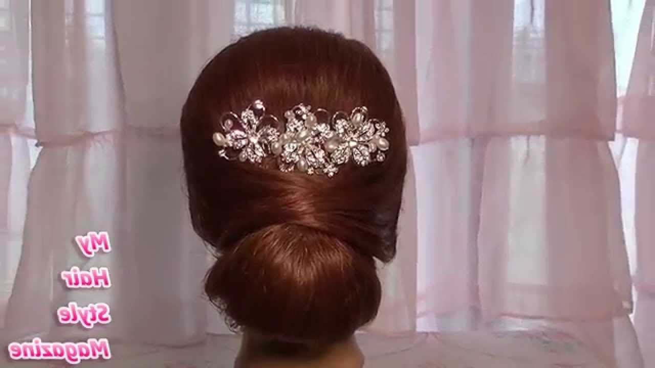 Easy Low Bun Wedding Hairstyle For Long Medium Hair Tutorial Updo Inside Newest Wedding Hairstyles For Long Low Bun Hair (Gallery 3 of 15)