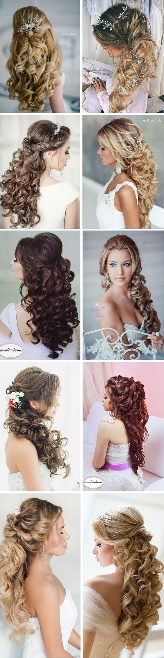 Elegant Curly Half Up Half Down Wedding Hairstyles / Http://www Throughout Newest Half Up Wedding Hairstyles Long Curly Hair (View 4 of 15)